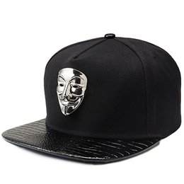 Skate Caps Australia - Hip Hop Snapback Caps V For Vendetta Baseball Caps  Black Hats Flat 43efde86291