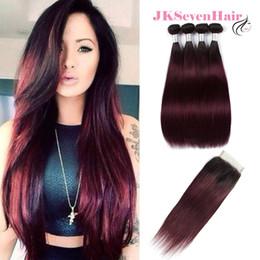 $enCountryForm.capitalKeyWord Australia - 1B Burgundy Straight Brazilian Virgin Hair 4pcs With Lace Closure Dark Rooted Burgundy Peruvian Malaysian Indian Hair With 4x4 Inch Closure