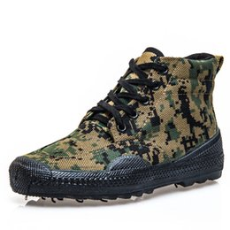 Discount army combat boots men - 2018 new men canvas army bot camouflage boots tactical boots combat high marine anti-skid breathable rubber bots jungle