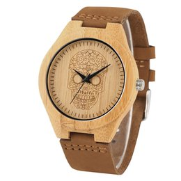 Dial Box UK - Skull Dial Wooden Watches Brwon Leather Strap Quartz Wrist Watch Clock with Box Bamboo Watches Gifts for Male relogio masculino