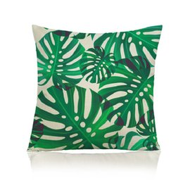 leaf bedding UK - Green Leaves Design Throw Pillow Cover 45x45cm 100% Polyester Printed Pillowcase Couch Bed Beautify Home Cover