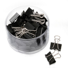 Paper File Clips UK - 48 pieces Lot Black Metal Binder Clips 25mm Notes Letter Paper Clip Office Supplies Binding Securing Clip Papelaria