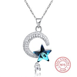 $enCountryForm.capitalKeyWord NZ - 925 Prata Sterling Silver Necklace with CZ Zircon Shine Moon & Blue Crystal Star Pendant Long Necklaces for Women Party Gift Fashion Jewelry