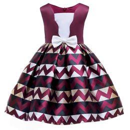 $enCountryForm.capitalKeyWord Australia - flower girl dress Summer England Style Bow Stripe Tutu Princess Dress for Girls Baby Forma Girls Clothes Ball Gown for Girl Dress