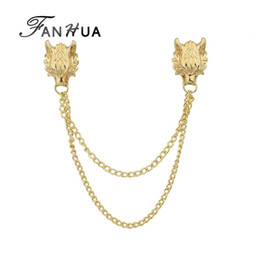 $enCountryForm.capitalKeyWord Australia - FANHUA Boho Jewelry Gold-Color Silver Color Brooches With Long Chain Double Dragon Head Shape Punk Brooches Women Accessories