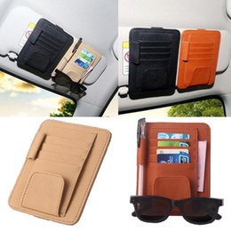 car pen holder clip 2019 - Car style Auto Sun Visor Clip for Sun Glasses Card Pen Holder Multifunctional Storage Bag Leather GGA203 30PCS discount