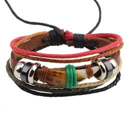 China wedding shop online shopping - multi layer Pulseira masculina genuine leather mens designer bracelets dog teeth zinc casting beaded wax cord shopping online