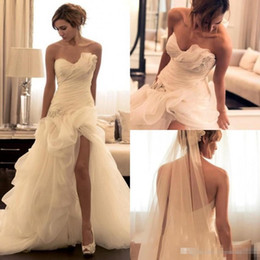 Discount v neck asymmetrical wedding dress Elegant Sweetheart Mermaid Wedding Dresses Organza Floor Length Mopping Long Section Charming Luxury Tube top Newest Des