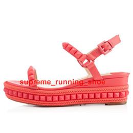 2018 yeni Kalite Kırmızı Alt Cataclou 60mm Çivili Seksi yüksek topuk Kadın sandalet, Lüks Tasarım Beyaz oymalı sandalet indirimde