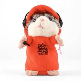 electronic records Canada - Electronic Educational Cute Talking Music DJ Hamster Plush Sound Record Hamster With Mic Animal Toy Orange