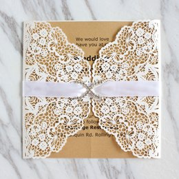 Lace White Invitation Cards NZ - Jeweled lace white invitation card for wedding engagement prom party folded invitation holder laser cutting custom printing