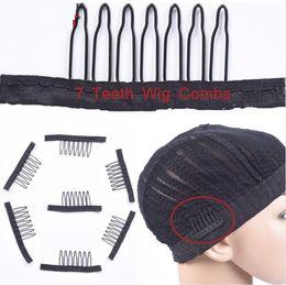 7 Theeth en acier inoxydable peigne perruque pour la perruque caps clips de perruque pour les extensions de cheveux fort peigne noir de cheveux de dentelle en Solde