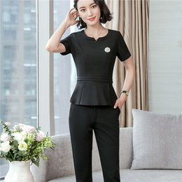 Summer Short Pants Set For Woman Canada - New Styles Pantsuits With 3 Piece Top+ Pant+ Skirt For Business Women Summer Short Sleeve Slim Fit Pantsuits Female Trousers Skirt Set