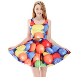 solid balloon UK - Women Billowing Dress Balloon 3D Full Print Girl Stretchy Casual Pleated Parasol Dresses Lady Sleeveless Digital Graphic Skirt (RLSkd1137)