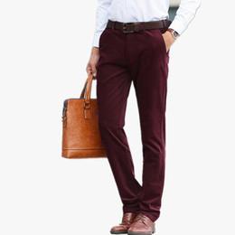 Discount red plaid pants plus size - 2018 Plus Size 44 Brand Mens Pant Classics Casual Business Stretch trousers regular Straight Pant Black Blue Khaki 4 Col