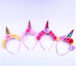 Chinese  Elegant Unicorn Horn with Colorful Flowers Hair Hoop For Girls Birthday Party DIY Ornaments Hair Decoration Gifts manufacturers