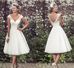 cowl neck tea length dresses Australia - Elegant Tea-Length Wedding Dresses V Neck Cap Sleeves Appliques Lace Tulle Ball Gown Short Wedding Dresses