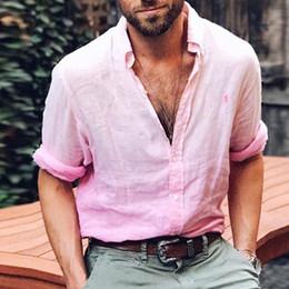$enCountryForm.capitalKeyWord Australia - Henley Shirt Daily Cotton Linen Loose Shirts Man Fashion Cool Long Sleeve Solid V-Neck Male Basic Plain Tops Blouse Plus Size
