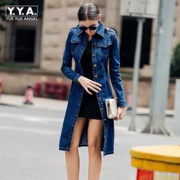 Top Moda Womens Casual Casaco de Algodão Trench Longo Marca Feminina Jeans Roupas Jeans Cor Azul Único Breasted Casacos 4XL em Promoção
