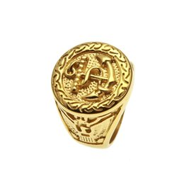 Chinese  2018 Mens ring vintage hip hop jewelry No inlay protection plating gold luxurious rings Anchor shape personality fashion Jewelry wholesale manufacturers
