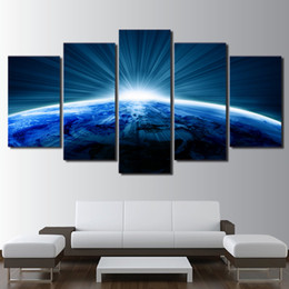 Background Prints Australia - New Style Canvas Painting 5 Panel Prints Planet Landscape Bedside Background Home Decor Wall Art Modular Picture Poster Hang Picture