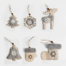 Gift Craft Christmas Ornament Australia - Wooden Christmas Tree Ornaments Cute Furry Snowflake Bell Deer Hat Wood Xmas Hanging Ornaments Craft Gifts Tree Decor Pendants