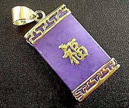 """Pendant Jade Australia - Wholesale Purple Jade Golden Chinese Character """" FU """" Fortune Luck Pendant and Necklace"""