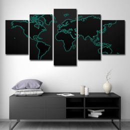 Background Prints Australia - 5PCS Modular Canvas Painting For Living Room Wall Art Print Picture Gift Home Decoration 5 Panels World Map Black Background Painting