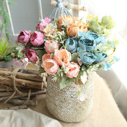 Wholesale Display Tables NZ - Newest Artificial Flowers Holding Flowers Wedding Supplies Table Display Wall Shell Decoration Lifelike Emulational Peony 6 Branch 6 Head Fr