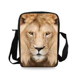 Discount gold lion bags - Men Messenger Bag Casual Animal Prints Lion Shoulder Bag Girls Cross Body Bags For Women Child Small School Bags Boys