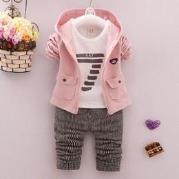 $enCountryForm.capitalKeyWord Australia - 2018 spring autumn baby boy clothing sets 3pcs T-shirt+Hoodie Jacket+Striped pants toddler boys Outfit Tracksuit