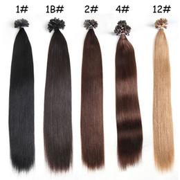 Venta al por mayor de Al por mayor-1g s paquete de 100g 14 '' - 24 '' 100% cabello humano u punta Extensiones de cabello Remy Indio Precio de fábrica Ola recta Uña de cabello 5 color