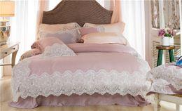 Silk tencel duvet coverS online shopping - Pink Luxury Romantic White Lace edge S Tencel Silk Princess Bedding Set Duvet Cover Bed sheet Bed Linen Pillowcases