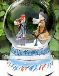 china ball lighting Canada - Snow lovers crystal ball music box birthday gift to send to friends