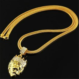 Discount necklace lion - Lion Head pendant necklace 18K Gold Plated statement necklaces Chain mens man hip hop Hiphop Jewelry 75cm long Fashion g