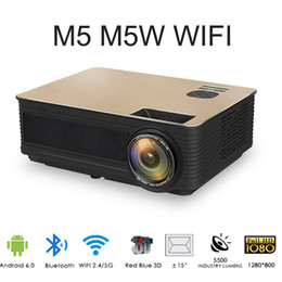 Proyector Wifi Australia - M5 M5W 4000 Lumen LCD Projector 1080P LED Projector Support HDMI VGA USB Android 6.0 WiFi Bluetooth Projector Built-in HIFI Sound Proyector