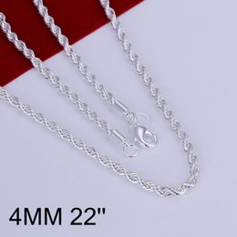 $enCountryForm.capitalKeyWord Australia - Fine 925 Sterling Silver Necklace,Fashion Men Women Necklace XMAS New Style 22INCH Cross Rope 4MM Trendy Chain Necklace Link Italy Hot AN67