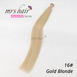 Blonde Remy Prebonded Hair Extensions Australia - MRSHAIR 100% Virgin Brazilian Human Hair I-Tip Prebonded Hair Extensions Machine Made Keratin Stick Fusion Remy Hair Extensions Blonde #16