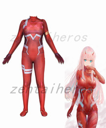 zentai female 2019 - 3D Printed Anime 3D DARLING in the FRANXX 02 Zero Two Superhero Lycra Zentai Bodysuit Halloween Cosplay Party suit cheap