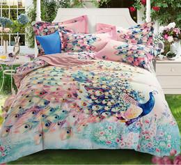 flower silver sheet 2019 - colorful peacock 100% Cotton Sanding Printed Flower Bedding Set Wedding Bed Sheet set Duvet Cover Pillowcase Queen King