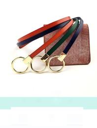 Decorative Leather Belts NZ - KOKO2018 new Korean gold round buckle decorative thin belt ladies dress accessories fashion waist chain leather belt black brown red