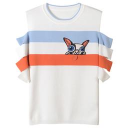 $enCountryForm.capitalKeyWord NZ - 2018 White Short Sleeves Leakage shoulder Cartoon Print Women's T Shirts Brand Same Style Dog Print T Shirts Women 30