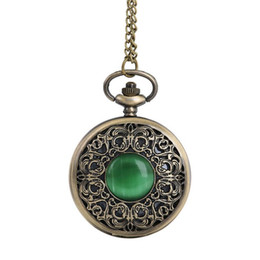 Vintage Watch Necklace Wholesale Canada - 2017 New Vintage Chain Retro The Greatest Pocket Watch Necklace with Emerald For Grandpa Dad Gifts Jan16