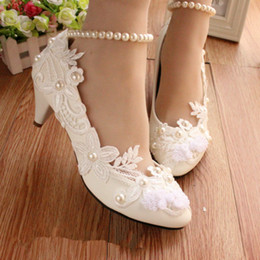chinese slips shoes NZ - White Lace Flower Wedding Shoes Woman Pumps 4.5Cm Kitten Heeled Pump Chinese Knot Beading Ankle Straps Shoes Woman For Bridesmaid Girl