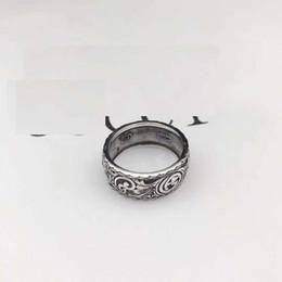 Vintage resin rose online shopping - High quality sterling silverJapanese Korean fashion brand ring silver lovers men British style Vintage old ring ring