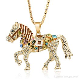 Diamond horse necklace online diamond horse necklace for sale horse necklace multicolor crystal rhinestone long chain necklaces pendants for women gift aloadofball Choice Image