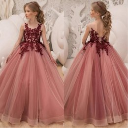 Wholesale 2019 Princess Flower Girls Dresses Jewel Neck Burgundy Lace Applique Crystal Beaded Open Back Tulle Birthday Communion Girls Pageant Gown