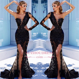 one sleeve prom dresses slit 2019 - One SHoulder Long Sleeves Black Lace Cheap Prom Dresses 2018 Vintage Mermaid See Through Slit Side High Long Evening Dre
