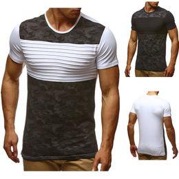 Wholesale mens camo t shirt for sale – custom New Tee Shirt Camo Design T Shirts Summer Mens Shirt Cotton Panelled Men Clothes Casual Slim Crew Neck Panelled T Shirt Men Top Tees