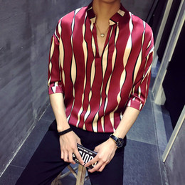 standing collar shirt style Australia - 2020 new style Mens Shirts Pullover Summer Shirts Striped Social Camisas Para Hombre V-neck Stand Collar Loose shirt
